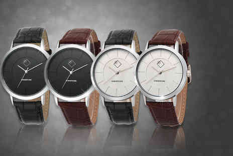 Cornerford - Gentlemans stainless steel and leather Quartz watch   - Save 83%