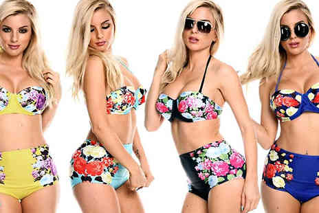 Beaches crazy - Retro Floral High Waisted Bikini - Save 74%