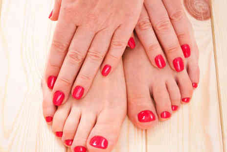Absolutely Fabulous - Manicure and Pedicure with Essie Gel Polish, Hour Long Swedish Back Massage   - Save 64%