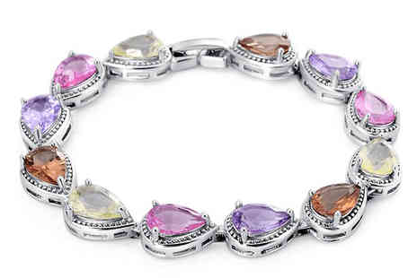 Romatco - Silver Plated Multi Coloured Crystal Bracelet - Save 64%