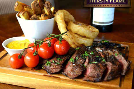 Thirsty Flame Craft Bar & Grill - Choice of 12oz Steak Meal for Two with Bottle of Wine  - Save 51%
