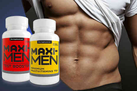 Ultra Supplements -   30 day supply of MaxiMen Max strength testosterone booster and MaxiMen multi vitamins Plus Delivery Included  - Save 84%