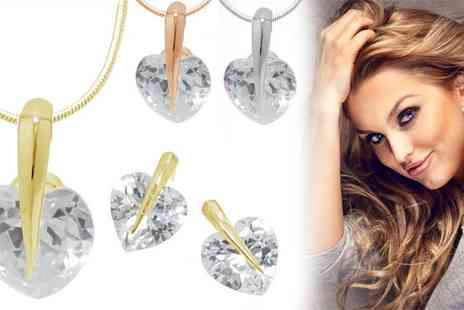 Jewelian - Crystal Heart Pendant Set Made With Sparkling Crystals - Save 0%