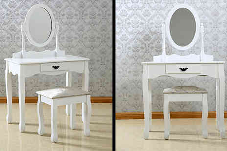 Luxury Furnitures - Emily Mirror Dressing Table and Stool Set - Save 60%