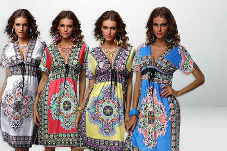 Beaches Crazy - V neck bohemian summer dress  - Save 75%