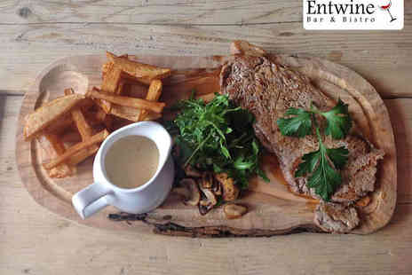 Entwine Bar & Bistro - Starter, Sirloin Steak, and Glass of Wine Each for Two  - Save 56%