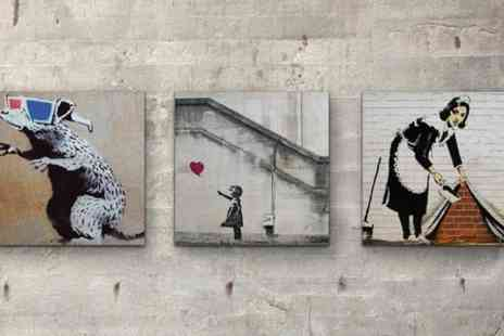 Woodpic - Banksy Collection Three 6x 6 inch Wall Art Prints On Wood  - Save 60%
