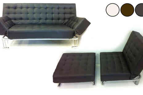 Fishoom - Faux Leather Futon & Stool or Venice Sofa Bed - Save 84%