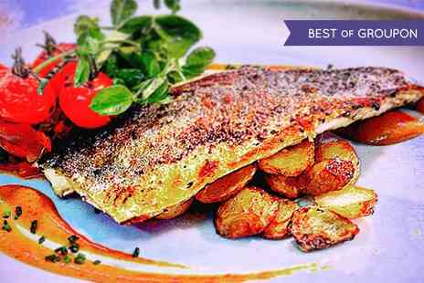 The William B - Two Course Seabass or Steak Salad Meal With Wine For Two  - Save 49%
