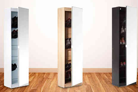 Dealrooms - Mirrored Shoe Cabinet in a Choice of Colours - Save 50%