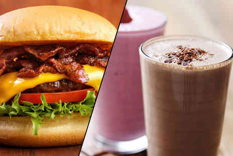 Filling Station - Burger, chips and a milkshake each for two   - Save 43%