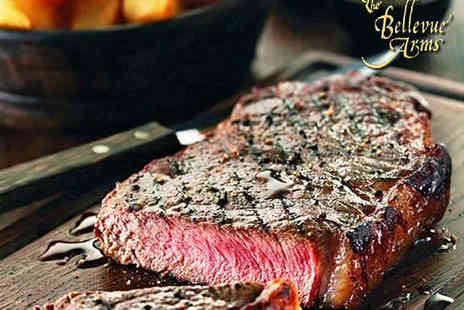 The Bellevue Arms - 12 oz Sirloin Steak Meal with Choice of Sauce and Glass of Bubbly Each for Two - Save 60%