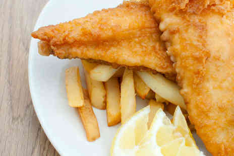 Kingfisher Fish & Chips - Tradtitional Fish and Chips with Mushy Peas for Two with Tea or Coffee - Save 0%
