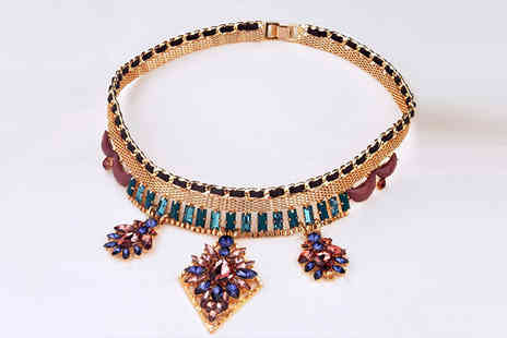 Beaches crazy - Crystal and Faux Leather Statement Choker Necklace - Save 69%