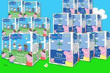 Fitvits - Two month supply of Peppa Pig calcium and vitamin D gummies or omega 3 and 9 gummies - Save 60%