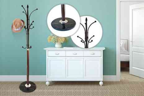 Kings Bathroom  -  12 peg metal hat and coat stand with a marble base - Save 70%