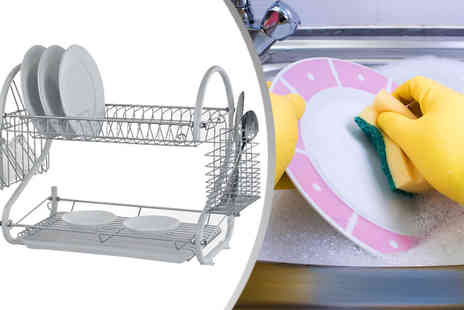 RS Communications - Two Tier Dish Drainer in 4 Colours including P&P - Save 72%