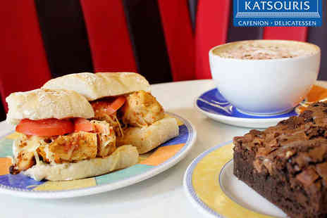 Katsouris Deli & Cafe - Hot Carvery Sandwich with Cake and Tea or Coffee - Save 0%