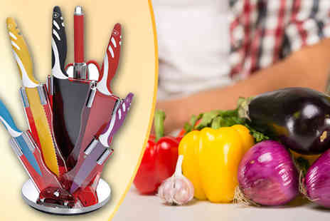 E Com Group UK - Royalty Line Eight Piece Knife Set with Stand - Save 72%