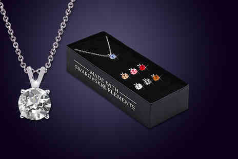 The Gemseller - Necklace with seven different coloured interchangeable crystal pendants made with Swarovski Elements - Save 90%