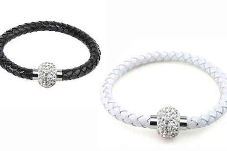 CheekyBox - Three Faux Leather Crystal Bracelets - Save 56%