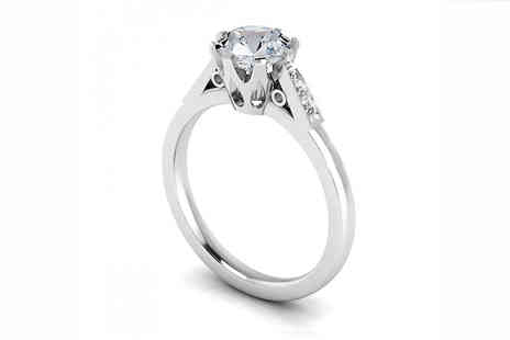 Jewellery Bank - 1.06ct Lab Created Sapphire and Natural Diamond Ring - Save 78%