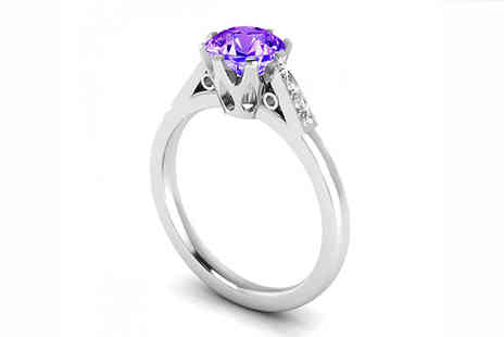 Jewellery Bank - 1.06ct Lab Created Amethyst and Natural Diamond Ring - Save 78%