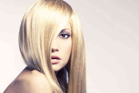 Scrimshaws - Haircut, Blow Dry, and Moroccan Oil Treatment with Full Head Tint or T-Bar Highlights - Save 73%