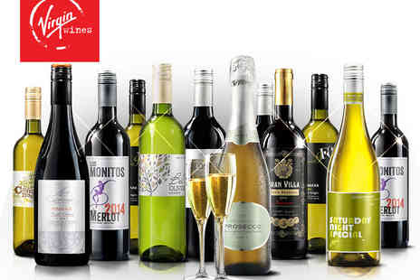 Virgin Wines - 12 Bottles of Mixed, Red or White Wine with Including Processo and Two Crystal Flutes - Save 59%