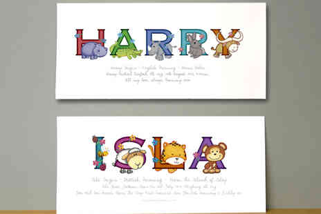 Frame My Name - Animal Adventures Child's Illustrated Name Print - Save 72%