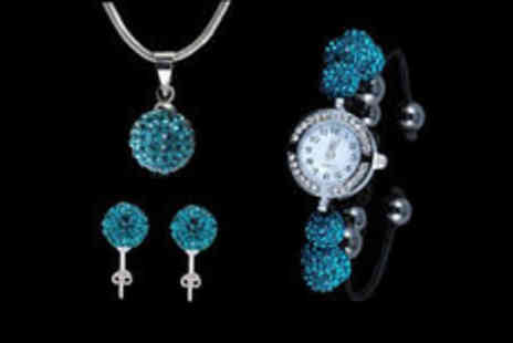 Gevani - Silver plated peacock blue crystal watch set Plus Delivery  - Save 0%