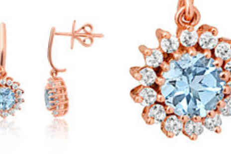 Rocks of London - Natural aquamarine and zircon cluster 9K rose gold drop earrings Free Delivery  - Save 0%