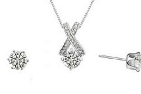 Hulbury - 18K white gold plated cross pendant jewellery set Plus Delivery - Save 0%