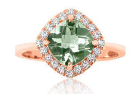 Rocks of London - 1.60ct natural green amethyst 9K rose gold cocktail ring Plus Delivery  - Save 0%