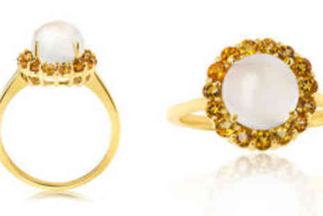 Rocks of London - 9K solid yellow gold moonstone ring Free Delivery  - Save 0%