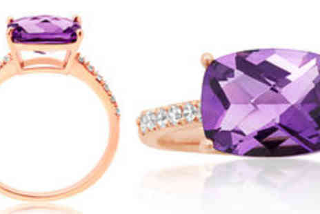 Rocks of London - 3 carat natural amethyst 9K rose gold ring FREE delivery - Save 0%