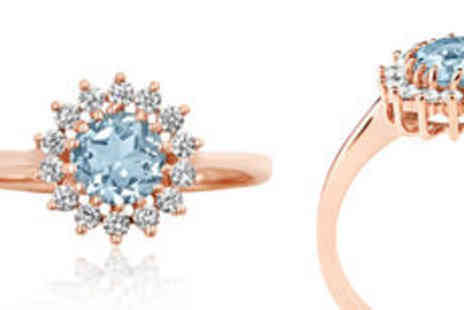 Rocks of London - 0.75ct Natural aquamarine 9K rose gold ring in choice of styles - Save 0%