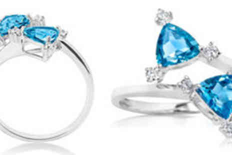 Rocks of London - 9K white gold natural blue topaz twin ring Free Delivery  - Save 0%