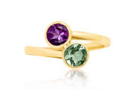 Rocks of London - 9K yellow gold round cut twin gemstone ring in choice of colours Plus  FREE delivery - Save 0%