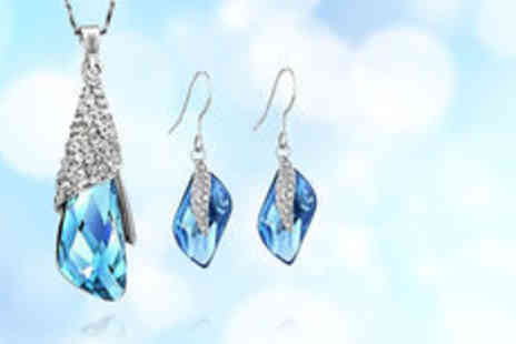 Timeless Gift - White gold plated crystal necklace and earring set  plus delivery  - Save 0%