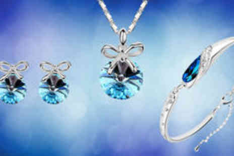 Gevani - Silver-plated round blue crystal set  plus delivery  - Save 0%