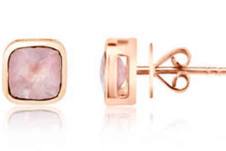 Rocks of London - 9K rose gold stud earrings with 3.00ct rose quartz Plus FREE delivery - Save 0%