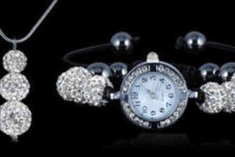 Gevani - Shamballa style Austrian crystal watch and necklace set plus delivery  - Save 0%