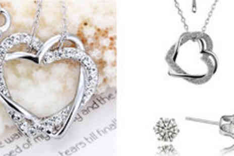 Hulbury - 18K white gold plated double heart jewellery set  plus delivery  - Save 0%