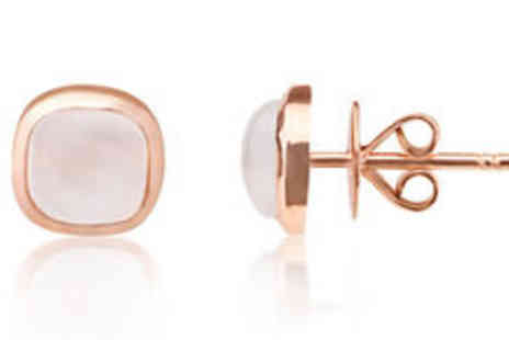 Rocks of London - Moonstone gemstone 9K rose gold stud earring Plus FREE delivery - Save 0%