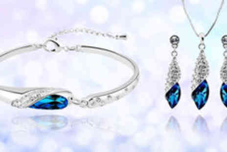 Gevani - White gold plated blue stone crystal set Plus delivery - Save 0%