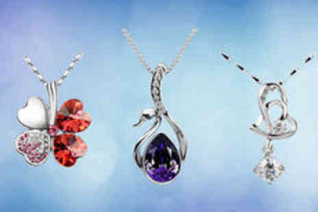 Gevani - Three silver plated and white gold plated crystal necklaces plus delivery  - Save 0%