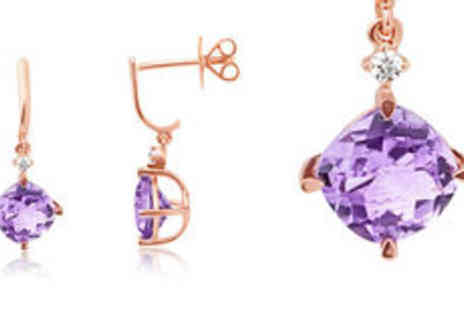 Rocks of London - 3.00ct amethyst 9K rose gold drop earrings Plus FREE delivery - Save 0%