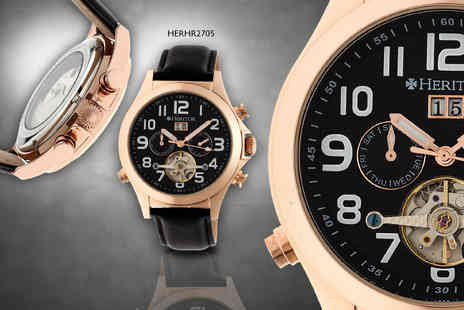 Brennan Atkinson - Automatic Heritor Adams watch with leather strap and semi skeleton dial  - Save 86%