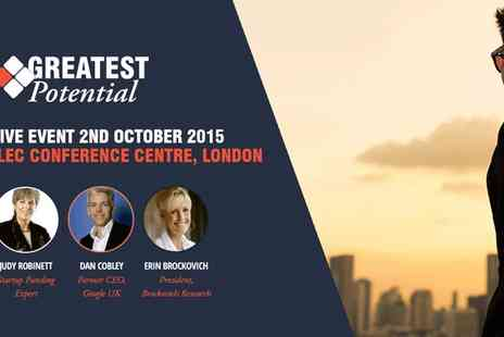 Greatest Potential - Greatest Potential 2015 with Erin Brockovich and Dame Kelly Holmes on 2 October  - Save 50%